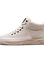 Men's Shoes PU Linen Spring Fall Comfort Sneakers Lace-up For Casual Outdoor Beige Black White