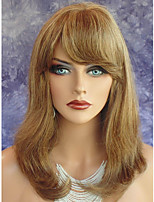 Women Synthetic Wig Capless Medium Straight Medium Auburn African American Wig With Bangs Party Wig Celebrity Wig Halloween Wig Natural