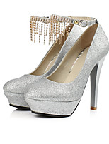 Women's Shoes PU Summer Basic Pump Heels Stiletto Heel Round Toe For Casual Gold Silver Red