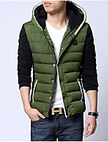 Men's Padded Coat,Street chic Going out Color Block-Others Polypropylene Long Sleeves