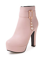 Women's Shoes Leatherette Fall Winter Fashion Boots Boots Chunky Heel Round Toe Booties/Ankle Boots Beading Buckle For Party & Evening