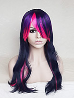 Women Synthetic Wig Capless Long Wavy Purple/Blue With Bangs Party Wig Halloween Wig Cosplay Wig Costume Wig