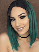 Women Synthetic Wig Capless Medium Length Straight Green Ombre Hair Dark Roots Middle Part Bob Haircut Natural Wigs Costume Wig