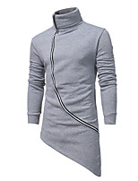 cheap -Men's Plus Size Casual/Daily Simple Sweatshirt Solid Turtleneck Belt Not Included Micro-elastic Cotton Long Sleeve Spring/Fall