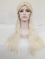 Women Synthetic Wig Capless Long Natural Wave Blonde Middle Part Cosplay Wig Costume Wig