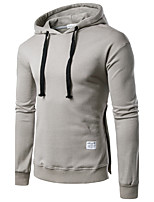 Men's Plus Size Casual/Daily Hoodie Solid Hooded Inelastic Cotton Long Sleeve Fall