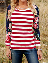 Women's Going out Casual/Daily Vintage Street chic Spring Fall T-shirt,Striped Floral Round Neck Long Sleeves Polyester Medium