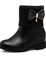 Women's Shoes Leatherette Fall Winter Snow Boots Fashion Boots Boots Low Heel Chunky Heel Round Toe Booties/Ankle Boots Rhinestone Bowknot
