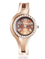 Women's Fashion Watch Simulated Diamond Watch Unique Creative Watch Chinese Quartz Alloy Band Bangle Rose Gold