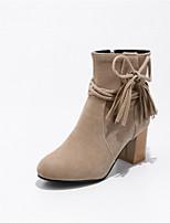 Для женщин Обувь Флис Зима Модная обувь Ботинки На толстом каблуке Круглый носок Сапоги до середины икры Кисти Назначение Свадьба