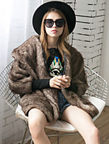 Women's Party Holiday Going out Casual/Daily Work Simple Fall Winter Fur Coat,Solid Shirt Collar Long Sleeve Long Faux Fur