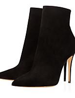 Feminino Sapatos Tecido Outono Inverno Botas da Moda Curta/Ankle Botas Salto Agulha Dedo Apontado Botas Curtas / Ankle Ziper Para Social