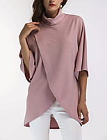 Women's Casual/Daily Vintage Simple Spring Fall T-shirt,Solid Turtleneck Half Sleeves Rayon Acrylic Medium