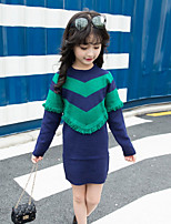 Girl's Birthday Casual/Daily Going out Solid Striped Floral Dress,Cotton Rayon Fall Winter Long Sleeve