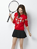 Women's Casual/Daily Simple Fall Hoodie Skirt Suits,Solid Print Quotes & Sayings Round Neck Long Sleeve Micro-elastic