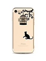cheap -Case For Apple iPhone X iPhone 8 Transparent Pattern Back Cover Cat Cartoon Soft TPU for iPhone X iPhone 8 Plus iPhone 8 iPhone 7 Plus