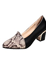 Women's Shoes PU Fall Winter Comfort Heels Chunky Heel Pointed Toe For Casual Dress Black