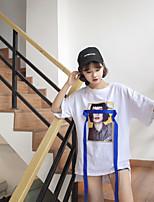 T-shirt Da donna Per uscire Casual Semplice Romantico Estate,Tinta unita Con stampe Rotonda Cotone Manica corta Sottile