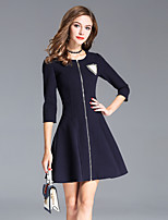 8CFAMILY Women's Going out Sophisticated A Line Dress,Solid Round Neck Above Knee 3/4 Length Sleeves Cotton Nylon Fall Winter Mid Rise