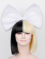 Women Synthetic Wig Capless Short Straight Black Cosplay Wig Costume Wig