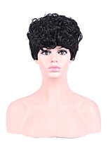 Women Synthetic Wig Capless Short Curly Black Natural Hairline Layered Haircut Party Wig Halloween Wig Natural Wigs Costume Wig