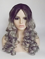 Women Synthetic Wig Capless Medium Long Wavy Deep Wave Black/Grey Ombre Hair Middle Part With Bangs Party Wig Natural Wigs Costume Wig