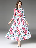 Linea A Vestito Da donna-Feste Per uscire Casual Sensuale Vintage Sofisticato Fantasia floreale Jacquard A cappuccio Maxi Manica lunga