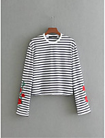 Women's Going out Casual/Daily Sexy Simple Street chic Spring Fall T-shirt,Striped Embroidery Round Neck Long Sleeves Cotton Thin Medium