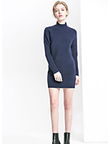 Women's Going out Simple Sheath Dress,Solid Round Neck Above Knee Long Sleeves Cotton Fall Mid Rise Micro-elastic Medium