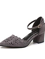 Feminino Sapatos Cashmere Verão Conforto Saltos Salto de bloco Dedo Apontado Para Casual Preto Cinzento