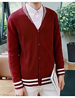 Men's Holiday Regular Cardigan,Color Block V Neck Long Sleeves Others Spring Fall Medium Micro-elastic