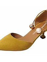 Women's Shoes PU Fall Winter Light Soles Heels Kitten Heel Pointed Toe Imitation Pearl For Casual Dress Yellow Black