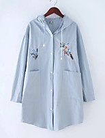 Women's Going out Casual/Daily Simple Spring Fall Trench Coat,Solid Print Hooded Long Sleeve Regular Cotton Others Embroidered