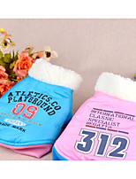 Dog Coat Dog Clothes Keep Warm Letter & Number Blushing Pink Blue