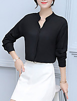 Women's Going out Casual/Daily Simple Fall Winter Shirt,Solid V Neck Long Sleeves Polyester Medium