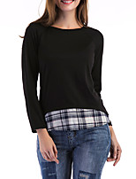 Women's Going out Casual/Daily Simple Street chic Spring Fall T-shirt,Color Block Check Round Neck Long Sleeves Cotton Spandex Medium