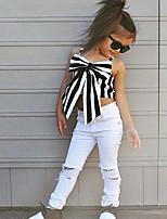 Girls' Stripe Sets,Cotton Spring Summer Sleeveless Clothing Set