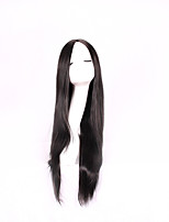 Women Synthetic Wig Capless Long Straight Black Middle Part Natural Wigs Costume Wig