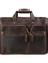 Men Bags All Seasons Cowhide Briefcase Pockets Zipper for Casual Dark Brown