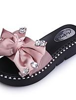 Damen Schuhe PU Sommer Komfort Slippers & Flip-Flops Flacher Absatz Offene Spitze Kristall Schleife Für Normal Schwarz Grün Rosa