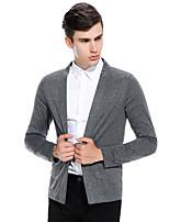 Standard Pullover Da uomo-Casual Tinta unita Rotonda Manica lunga Cotone Autunno Inverno Medio spessore Media elasticità