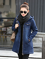 Women's Casual/Daily Street chic Fall Winter Denim Jacket,Solid Hooded Long Sleeve Long Cotton