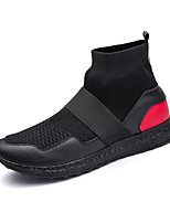 Men's Shoes Tulle Fall Winter Comfort Sneakers Lace-up For Athletic Casual Black/Red Black White