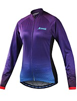 Cycling Jersey Women's Long Sleeves Bike Jersey Reflective Strip Fast Dry Softness Breathability 100% Polyester Patchwork Spring Summer