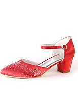 Women's Shoes Silk Spring Fall Comfort Wedding Shoes Chunky Heel Pointed Toe Rhinestone Sparkling Glitter For Wedding Party & Evening Red