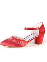 Femme Chaussures Soie Printemps Automne Confort Chaussures de mariage Gros Talon Bout pointu Strass Paillette Brillante Pour Mariage