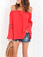 Women's Going out Club Sexy Simple Street chic Spring Fall T-shirt,Solid Boat Neck Long Sleeves Polyester Medium