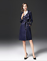 FRMZ Women's Going out Casual/Daily Street chic Spring Fall Trench Coat,Solid Notch Lapel Long Sleeve Long Others