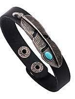 Men's Leather Bracelet Handmade Vintage Leather Alloy Round Feather Jewelry For Casual Going out