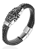 Men's Boys' Cuff Bracelet Bracelet Jewelry Fashion Punk Leather Titanium Steel Geometric Jewelry For Daily Casual